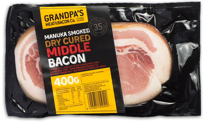 Transparent bacon middle cut. Grandpa s meat quality
