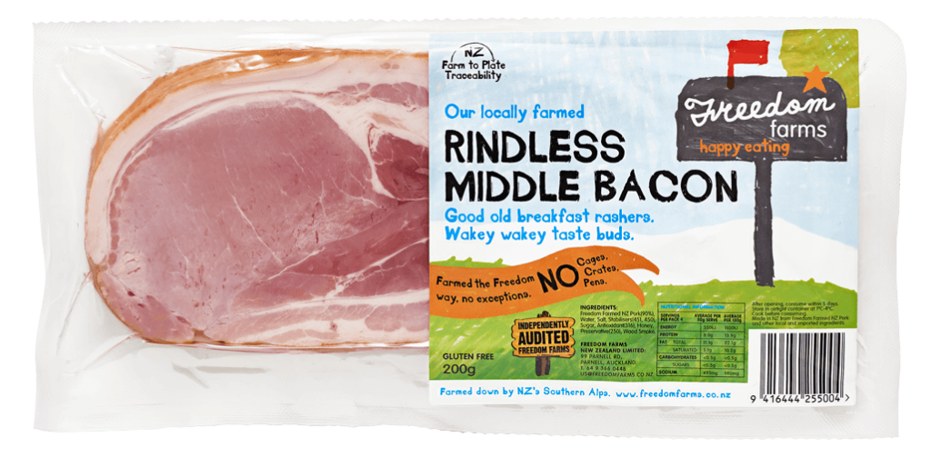 Transparent bacon middle cut. Rindless freedom farms rindlessmiddlebacon