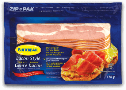 Transparent bacon single piece. Style turkey strips and