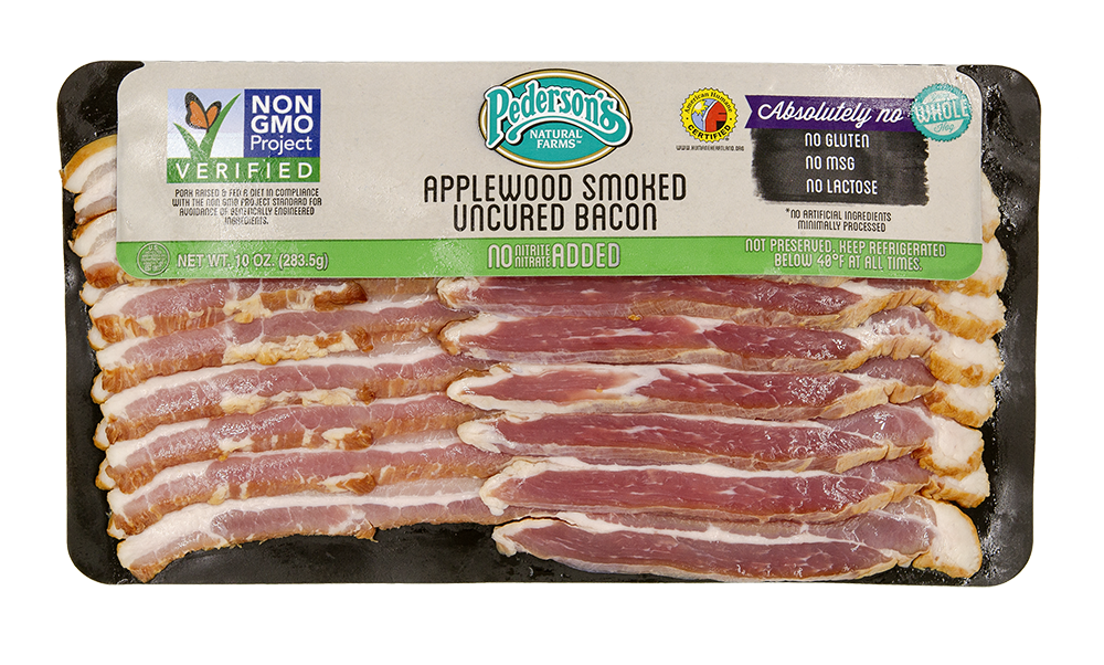 Transparent bacon smoked. Uncured applewood non gmo