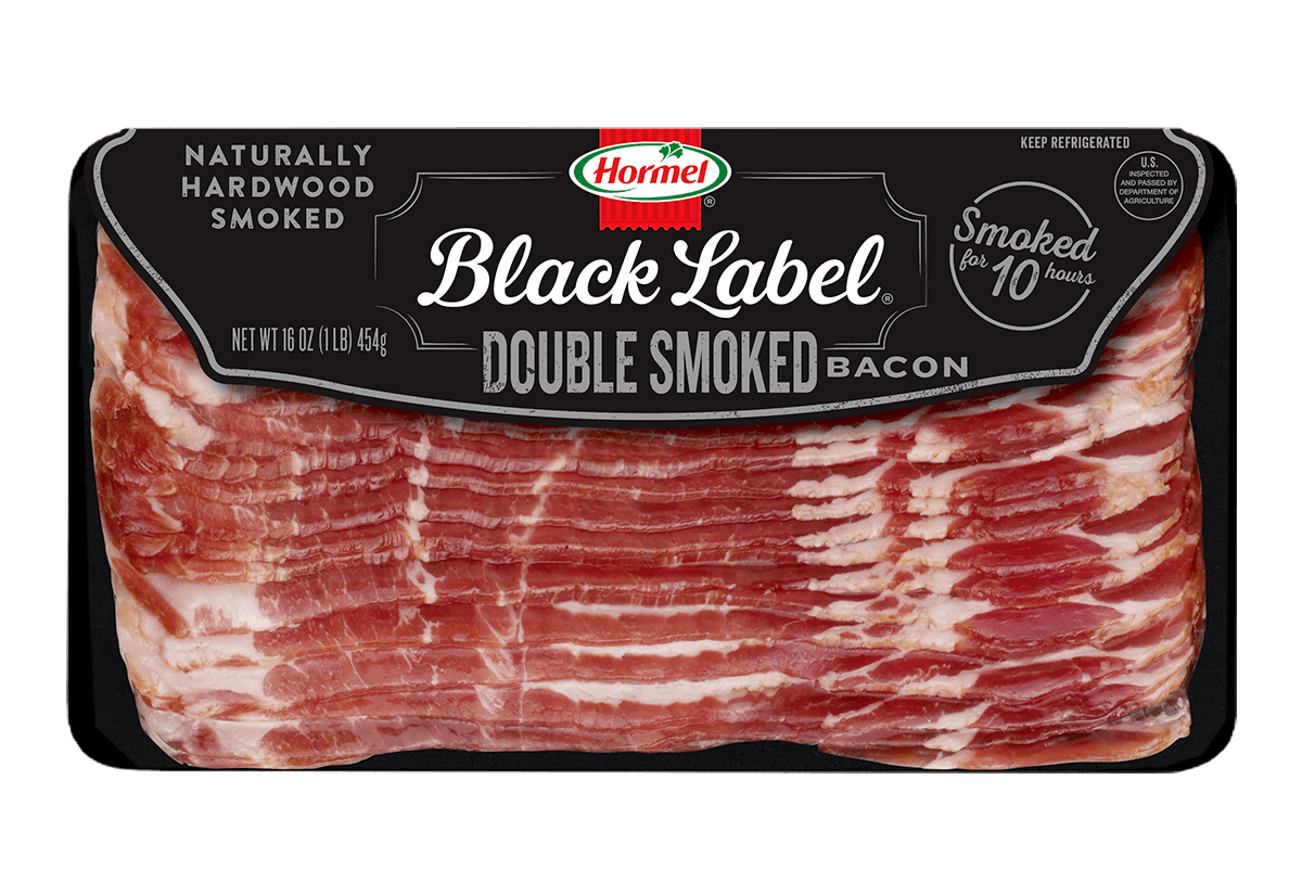 Transparent bacon smoked. Double hormel black label