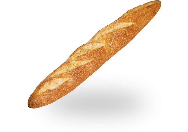 Transparent baguette. French cobs bread a