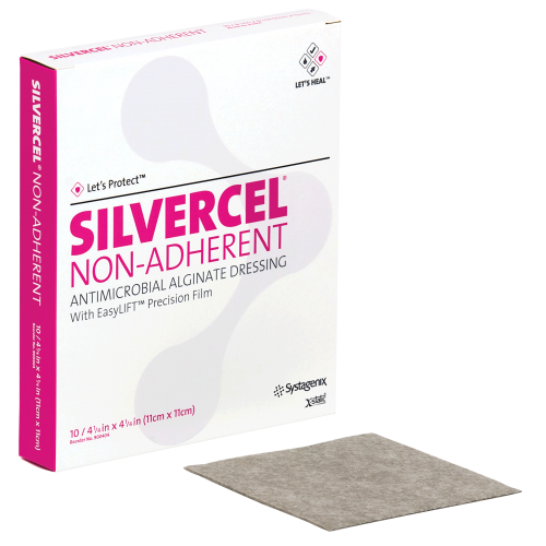 Transparent bandage antimicrobial. Silvercel non adherent hydro