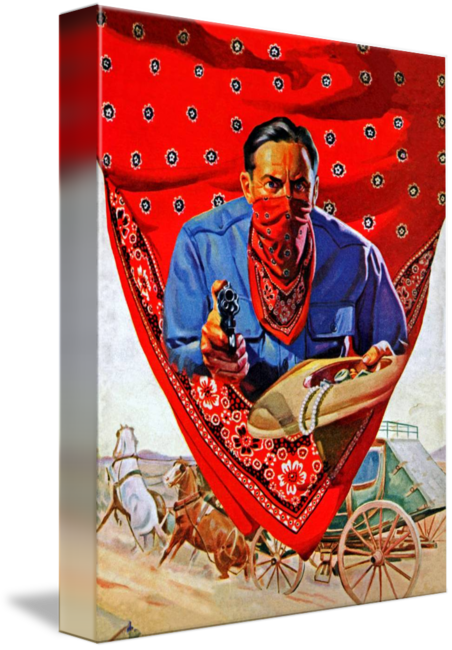 Transparent bandana wild west. Red bandit outlaw by