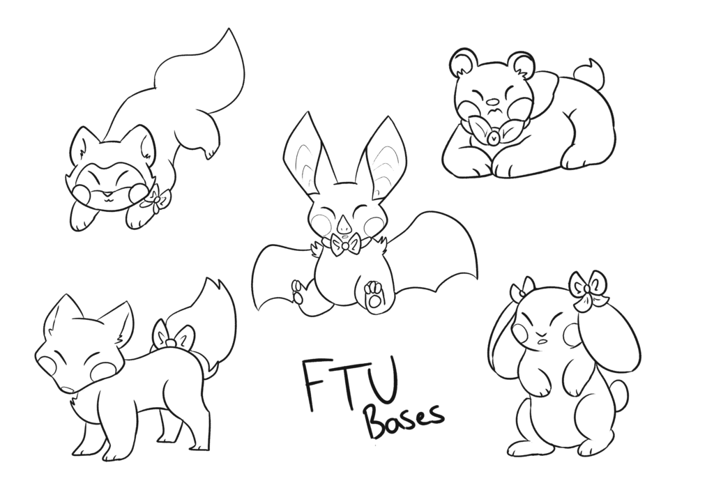 Transparent base adorable. Cute bow animal bases