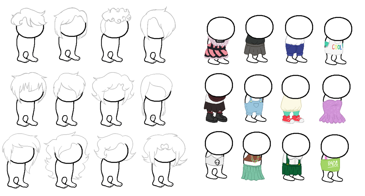 Transparent base clothes. Homestuck sprite bases and