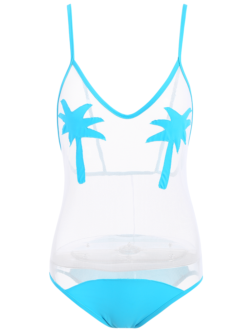 Transparent bathingsuit shee. Palm tree patched mesh