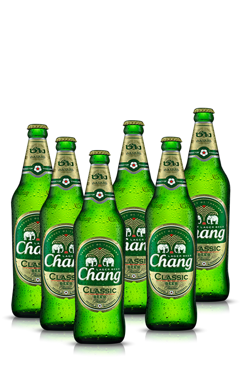 Transparent beer chang. Thai paneco