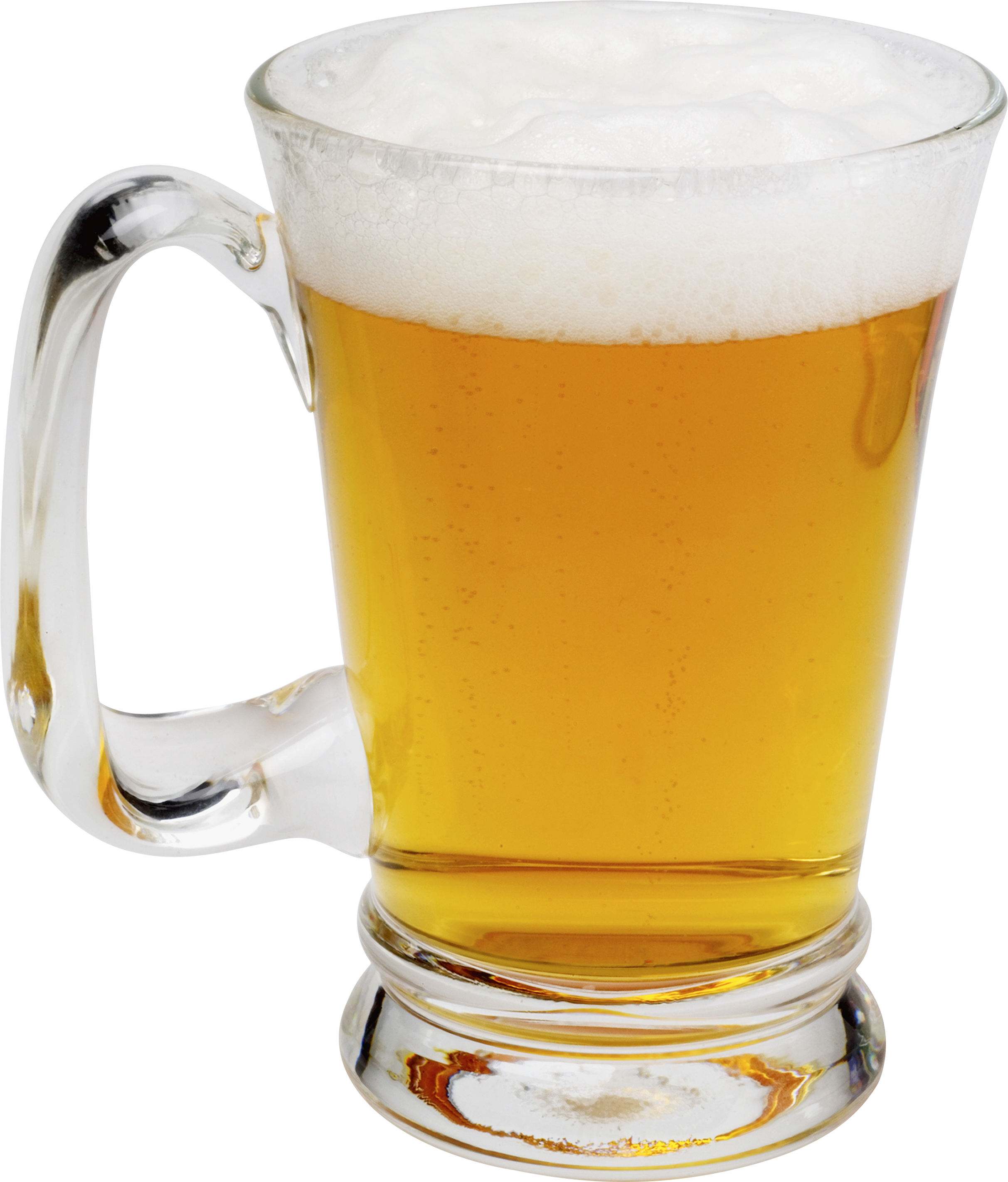 Transparent beer frosty. Glass of seven isolated