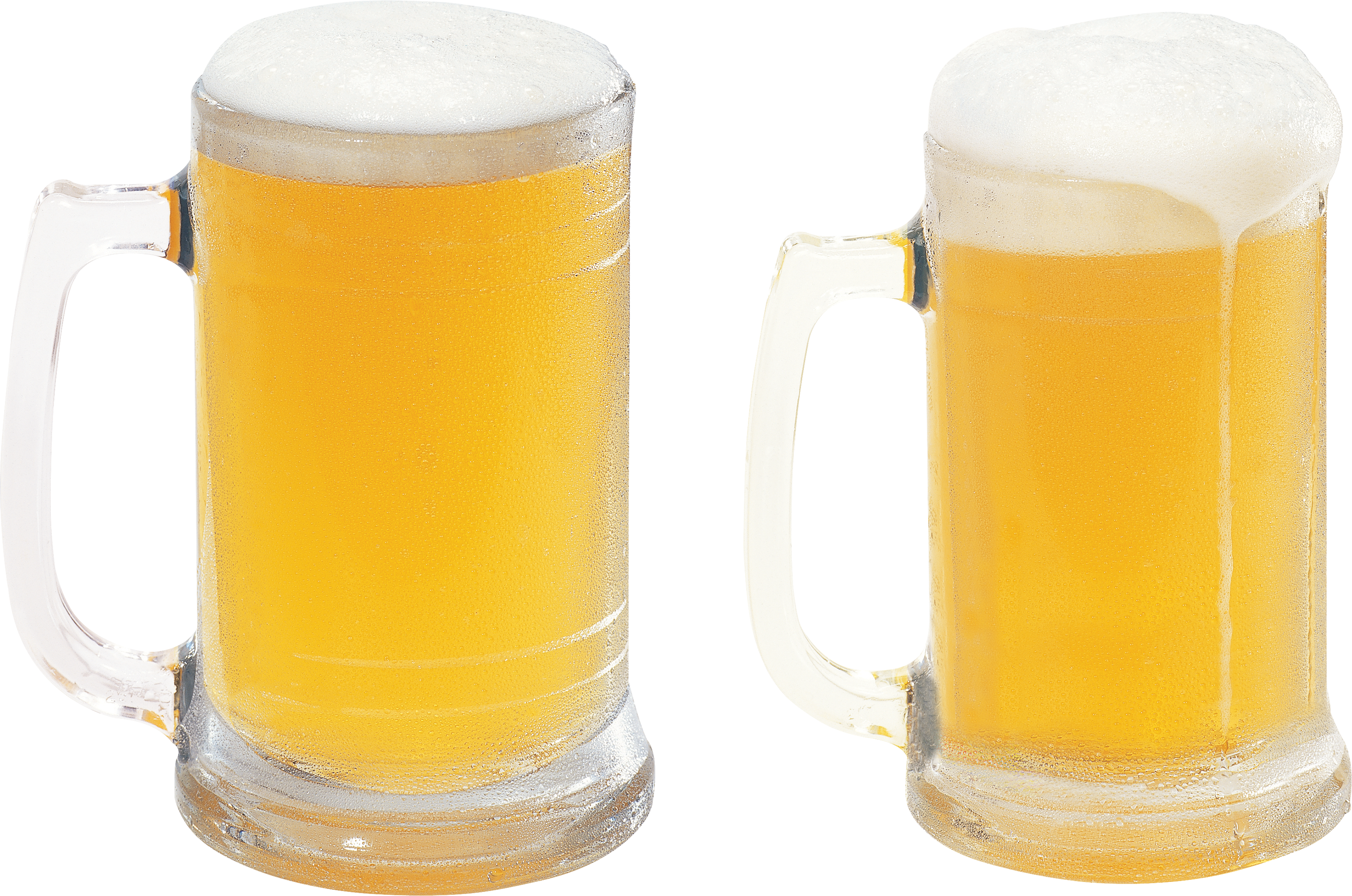 Transparent beer froth. Two glasses of four