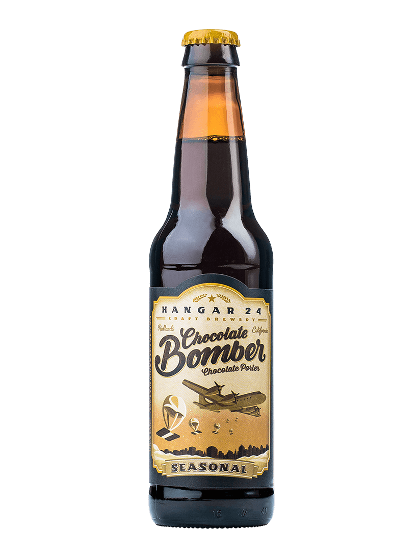 Transparent beer hanger. Brewery chocolate bomber stout