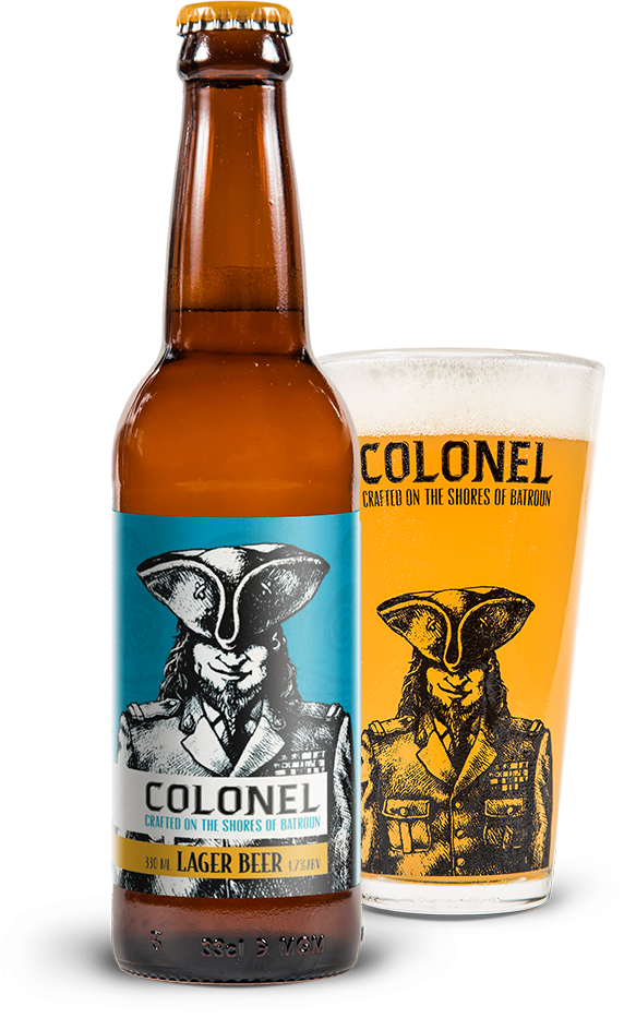 Transparent beer row. Colonel