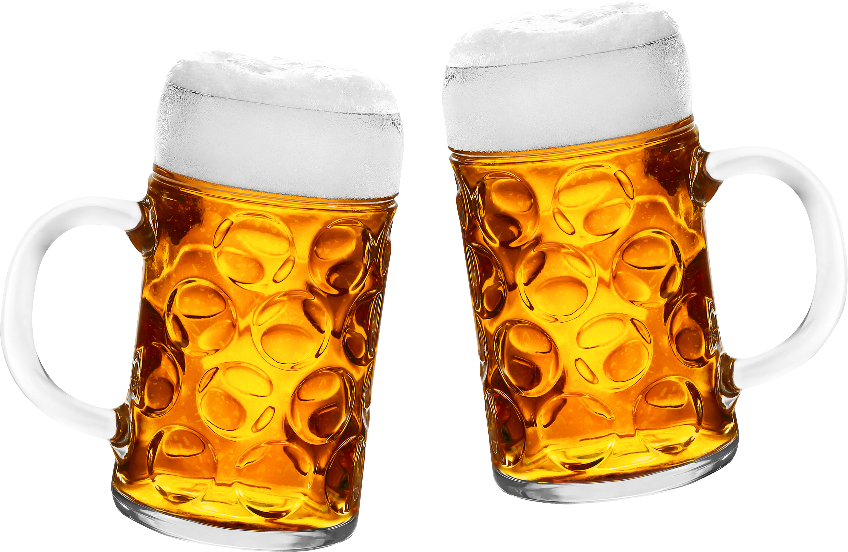 Transparent beer two. Glasses of six isolated