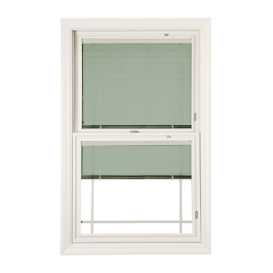 Transparent blinds sash window. Designer series double hung