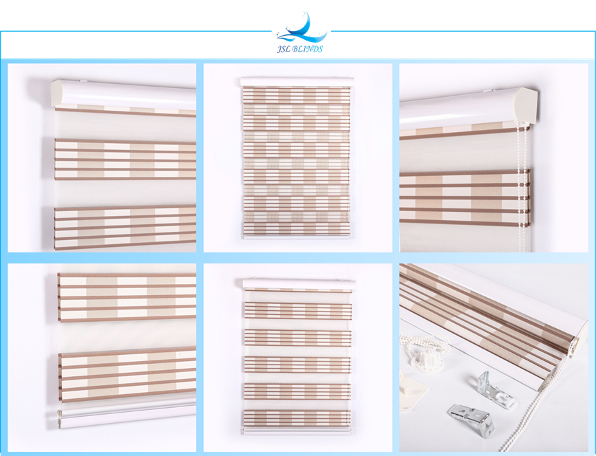 Transparent blinds brown zebra. Buy ready made dual