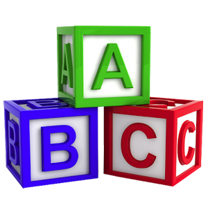 Transparent block abc. Learn with fun letter