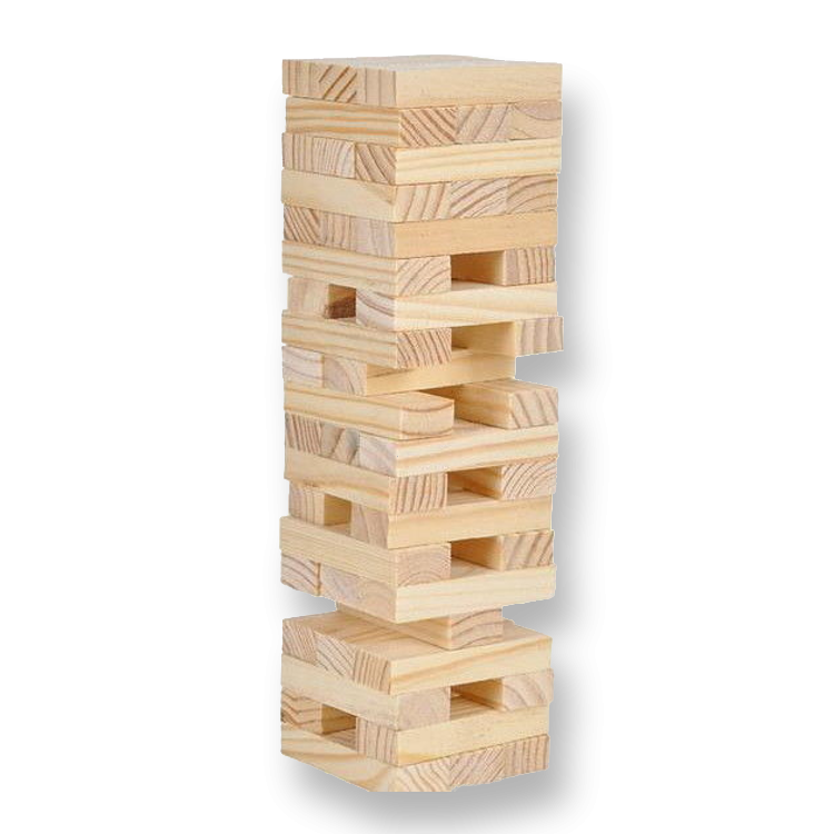 Giant portland party works. Transparent blocks jenga graphic library stock