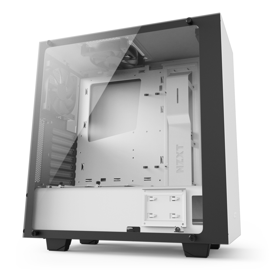 Transparent boards tempered glass. Mid tower white pc