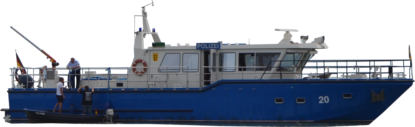 Transparent boats police. Clipped policeboat