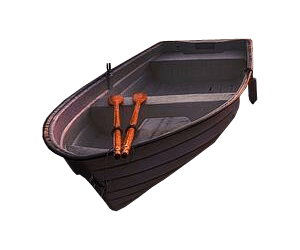 Transparent boats white background. Wooden rowing boat