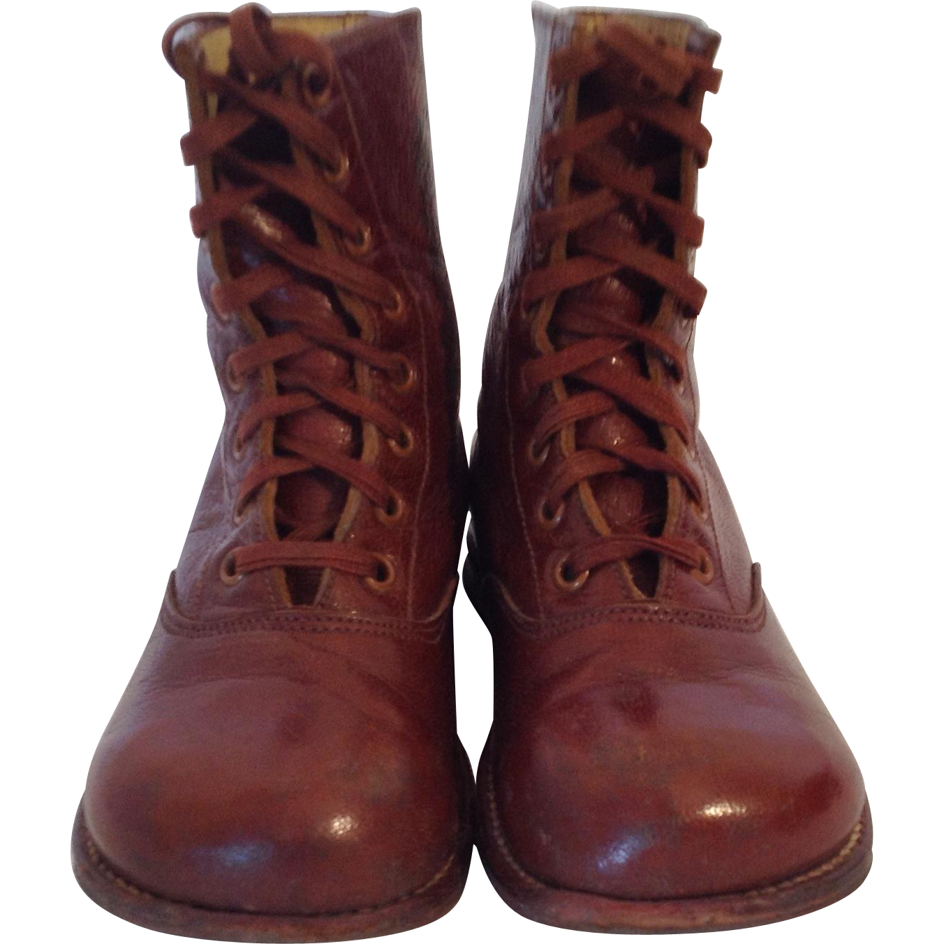 Transparent boot clear. French vintage brown leather