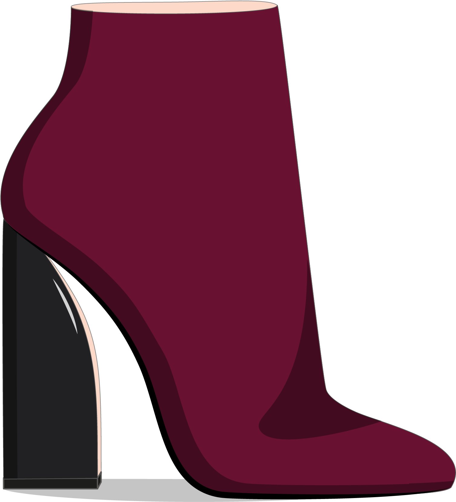 Transparent boot fashion. Download heels drawing ankle