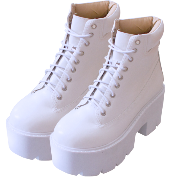 Transparent boot jelly. White high boots inu