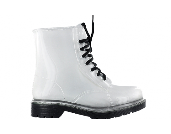 Transparent boot jelly. Rosette clear combat boots