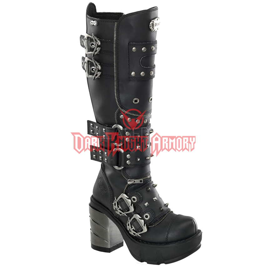 Transparent boot knight. Womens tall studded heel