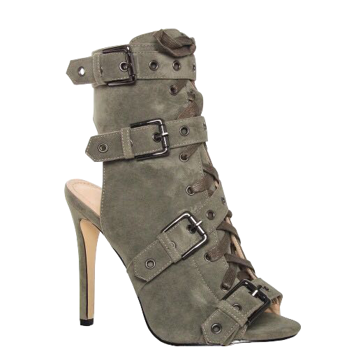 Transparent boot open toe. Khaki military army leather