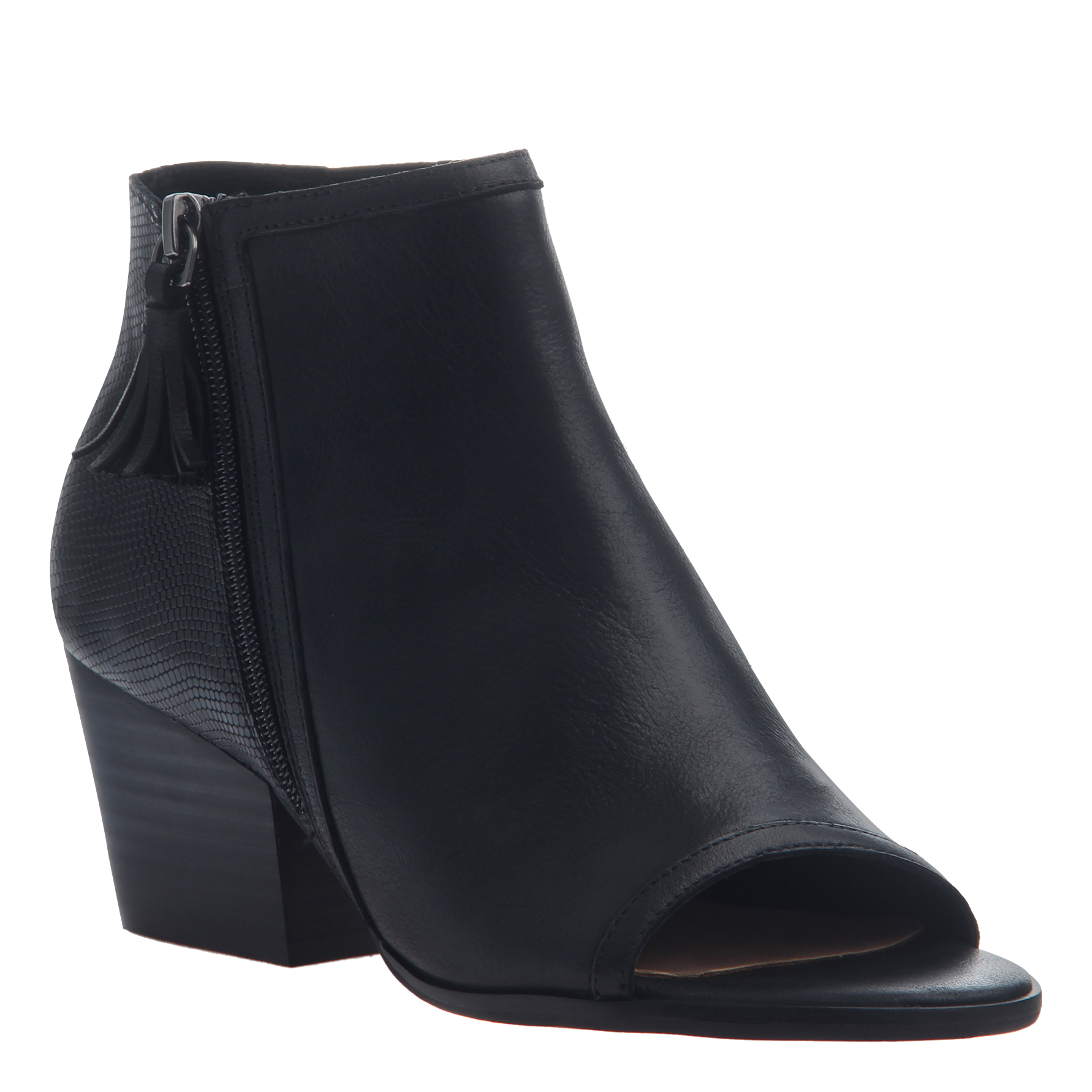 Transparent boot open toe. Ania in black booties