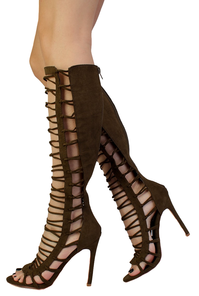 Transparent boot stiletto. Quinn olive strappy knee