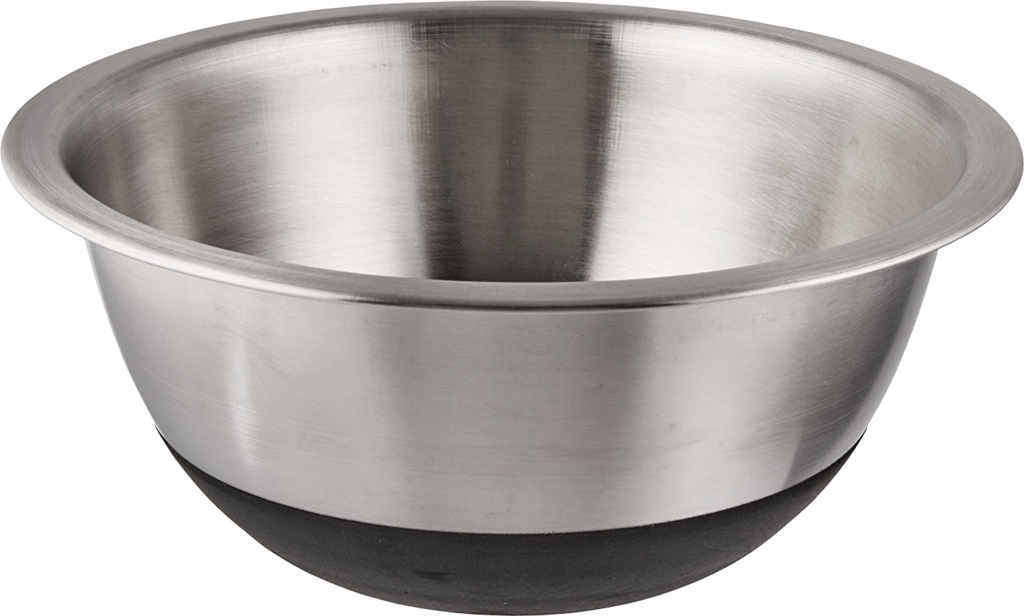 Transparent bowl mixing. Non skid stainless steel