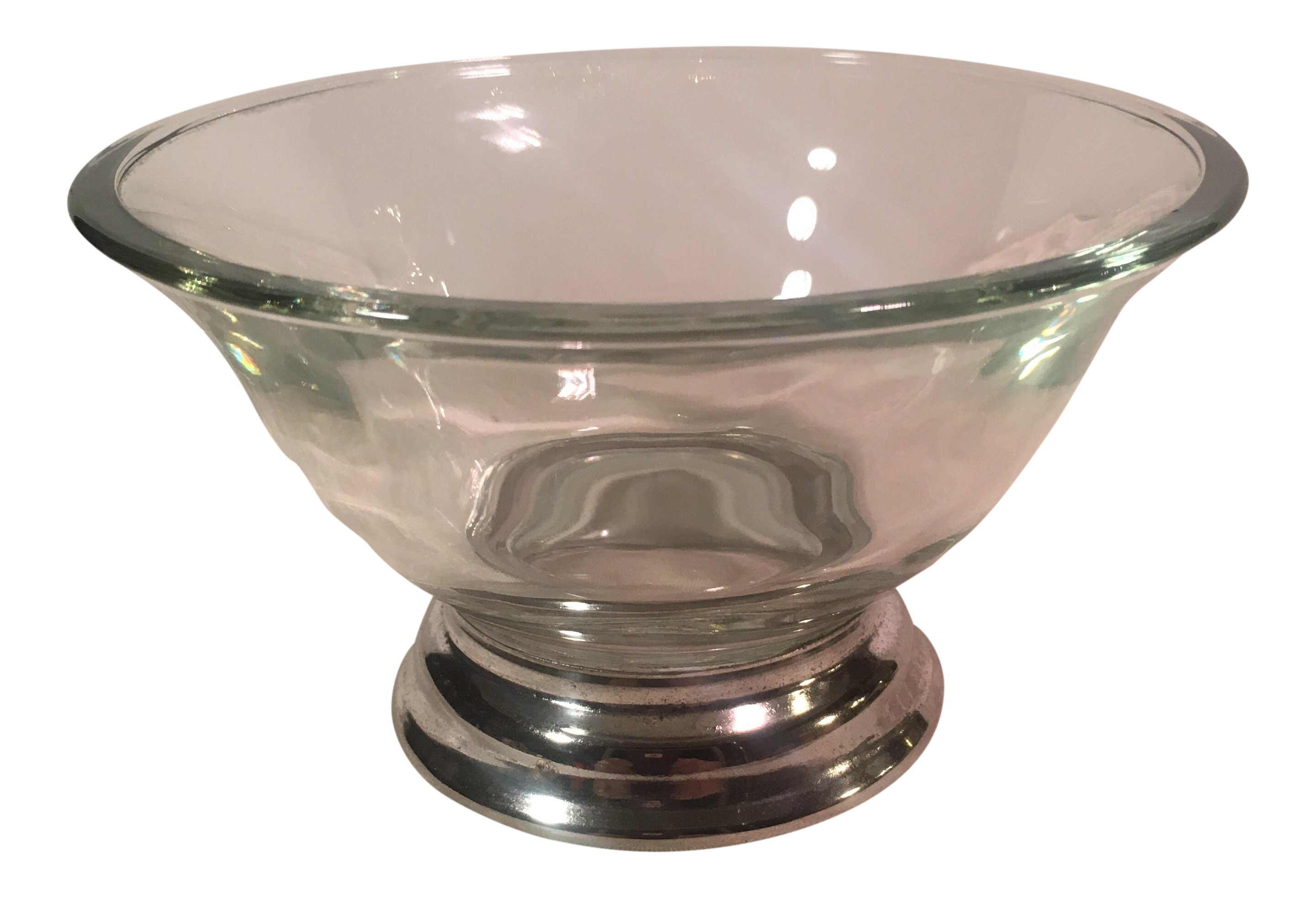 Transparent bowl silver. Base mid century