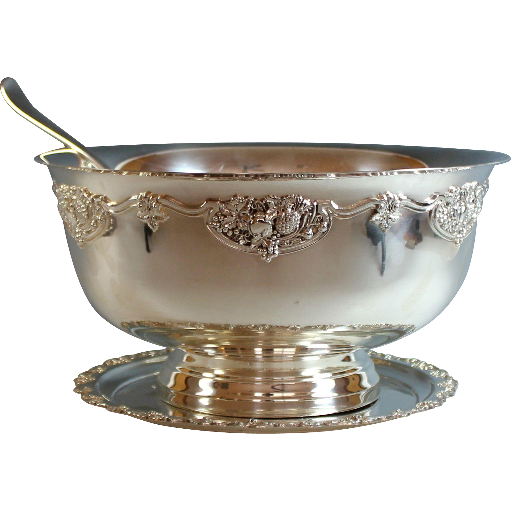 Transparent bowl silver. Extra large silverplate punch