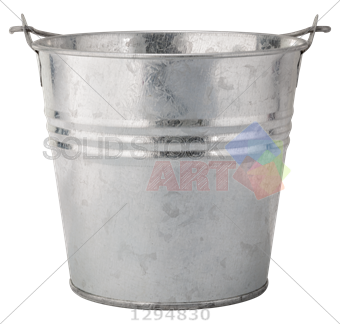 Transparent bucket. Stock photo of silver