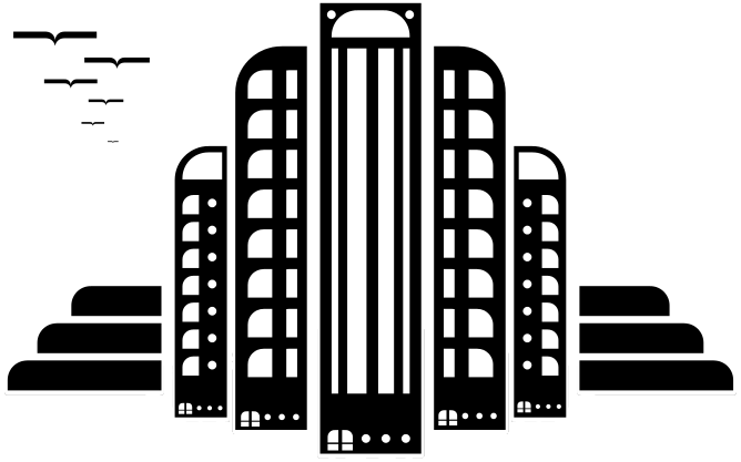 Transparent building black and white. Clip art library png