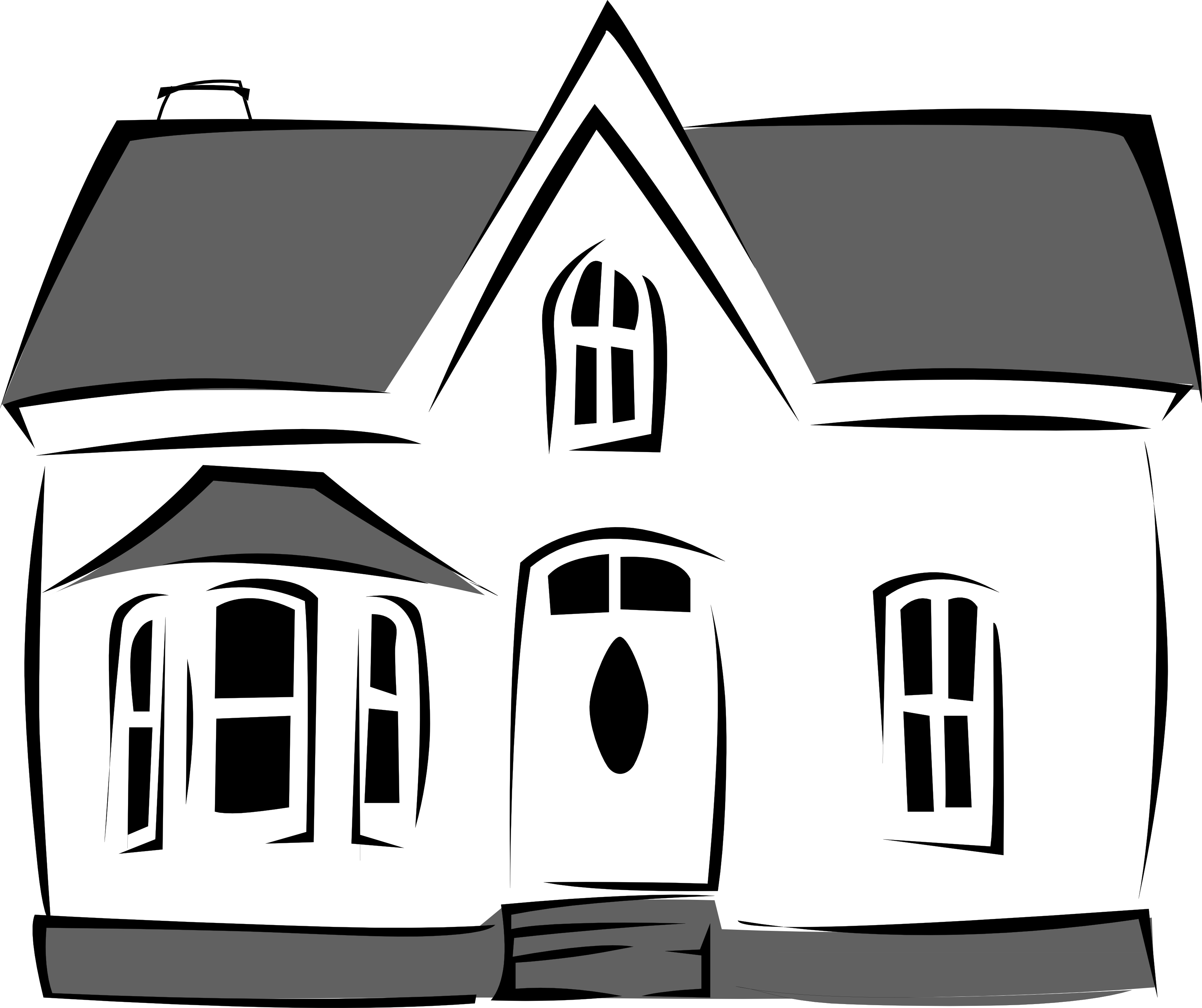 Transparent building black and white. Home house clipart collection