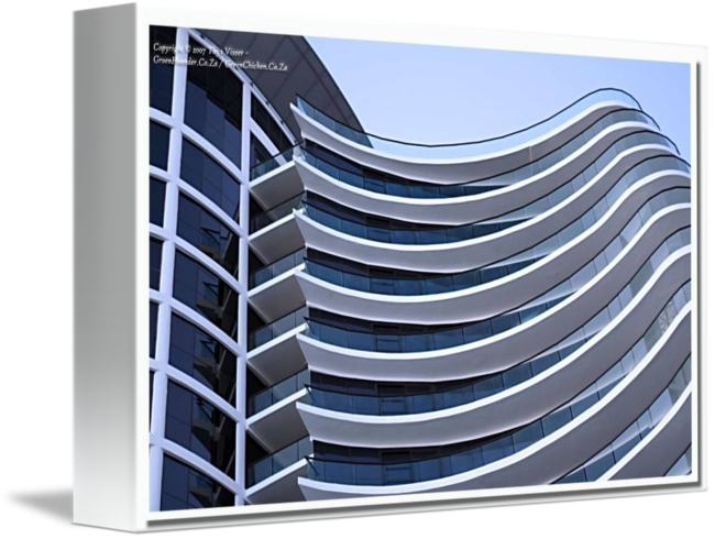 Transparent building curved. Architecture strand by thys