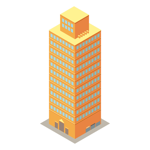 Vector buildings illustrator. Yellow high rise isometric