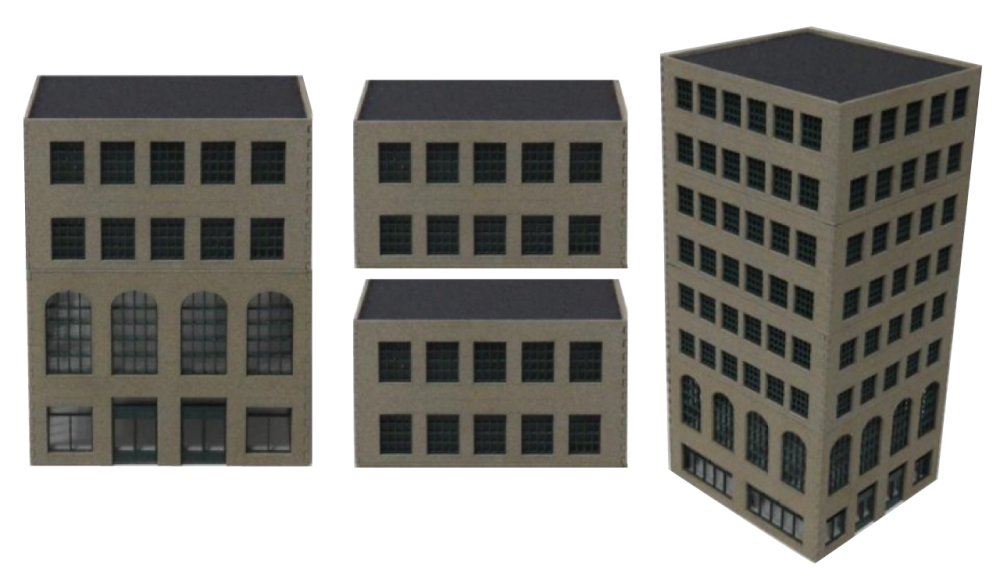 Transparent building rectangular. Rocker high rise buildings