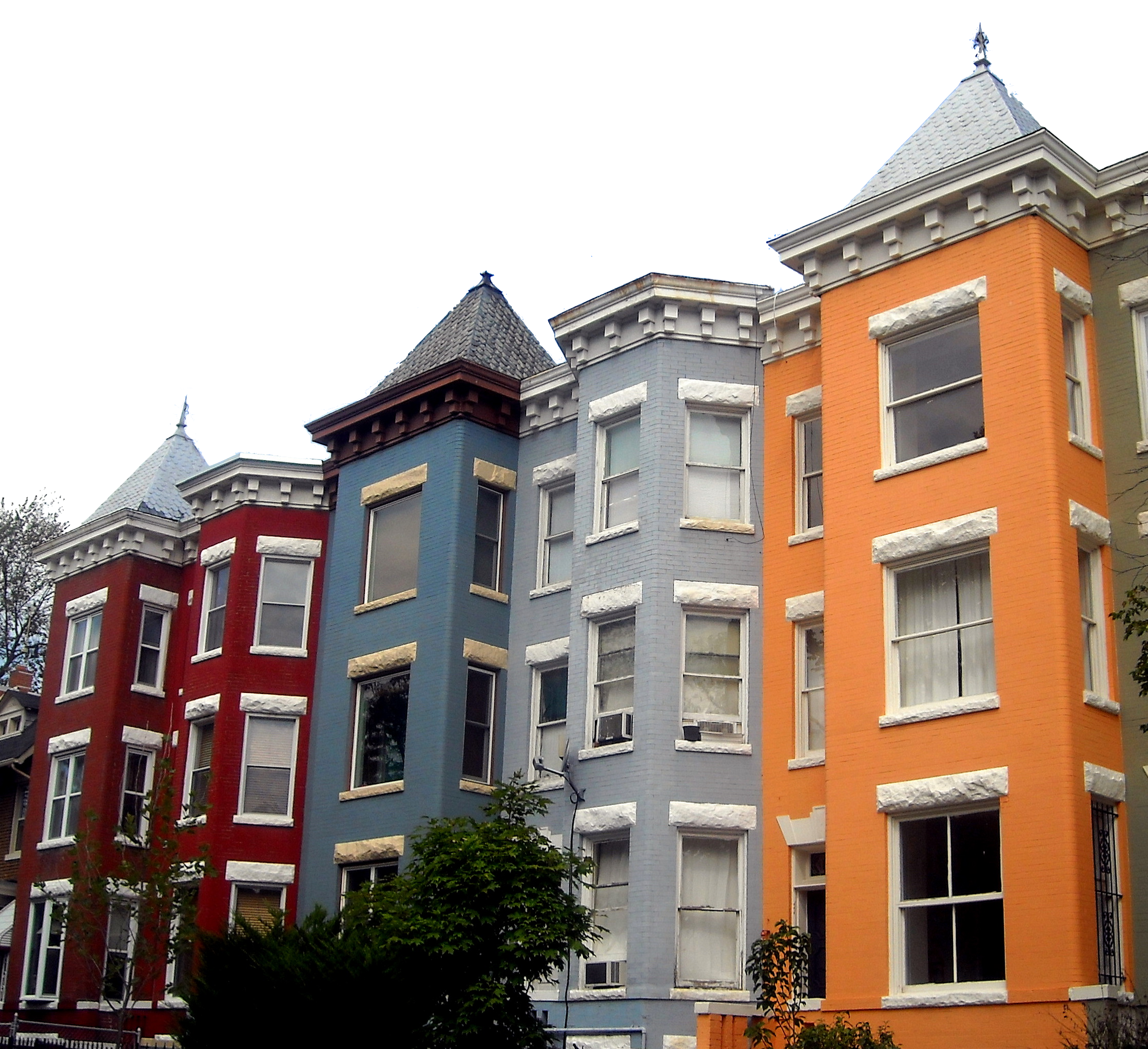 Transparent building row. Houses free images at