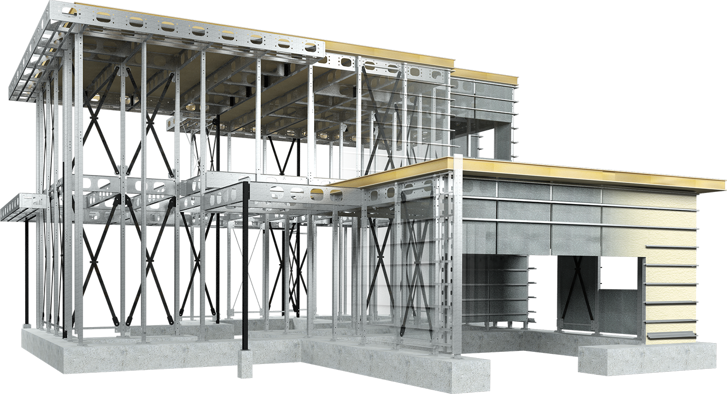 Transparent building structural. Steel construction technology environmentally