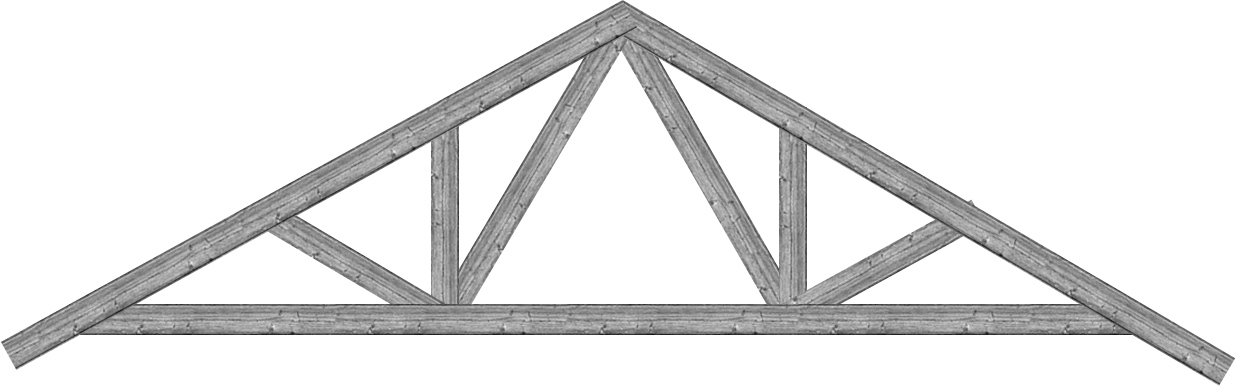 Transparent building truss. Geometry with roof trusses