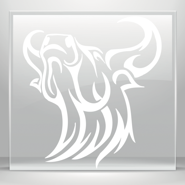 Transparent bull tribal. Simple color vinyl angry