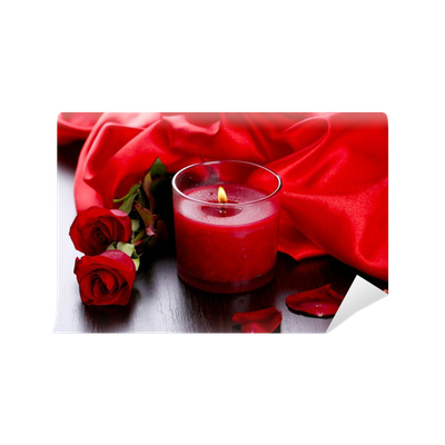 Transparent candles romantic. Beautiful red candle with