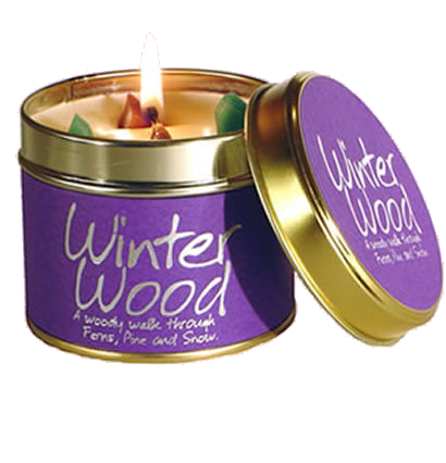Transparent candles scented candle. Lily flame winter wood