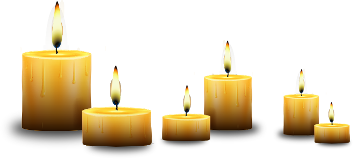 Transparent candles tribute. Beloved companion tributes