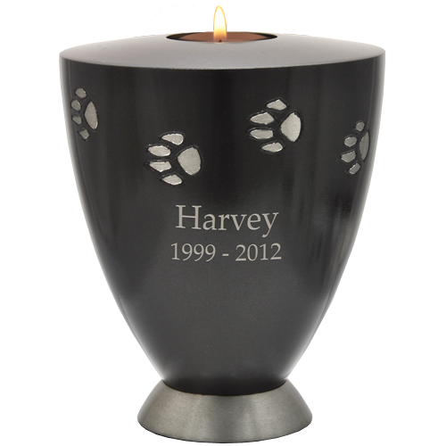 Transparent candles tribute. Afterlife essentials paw print