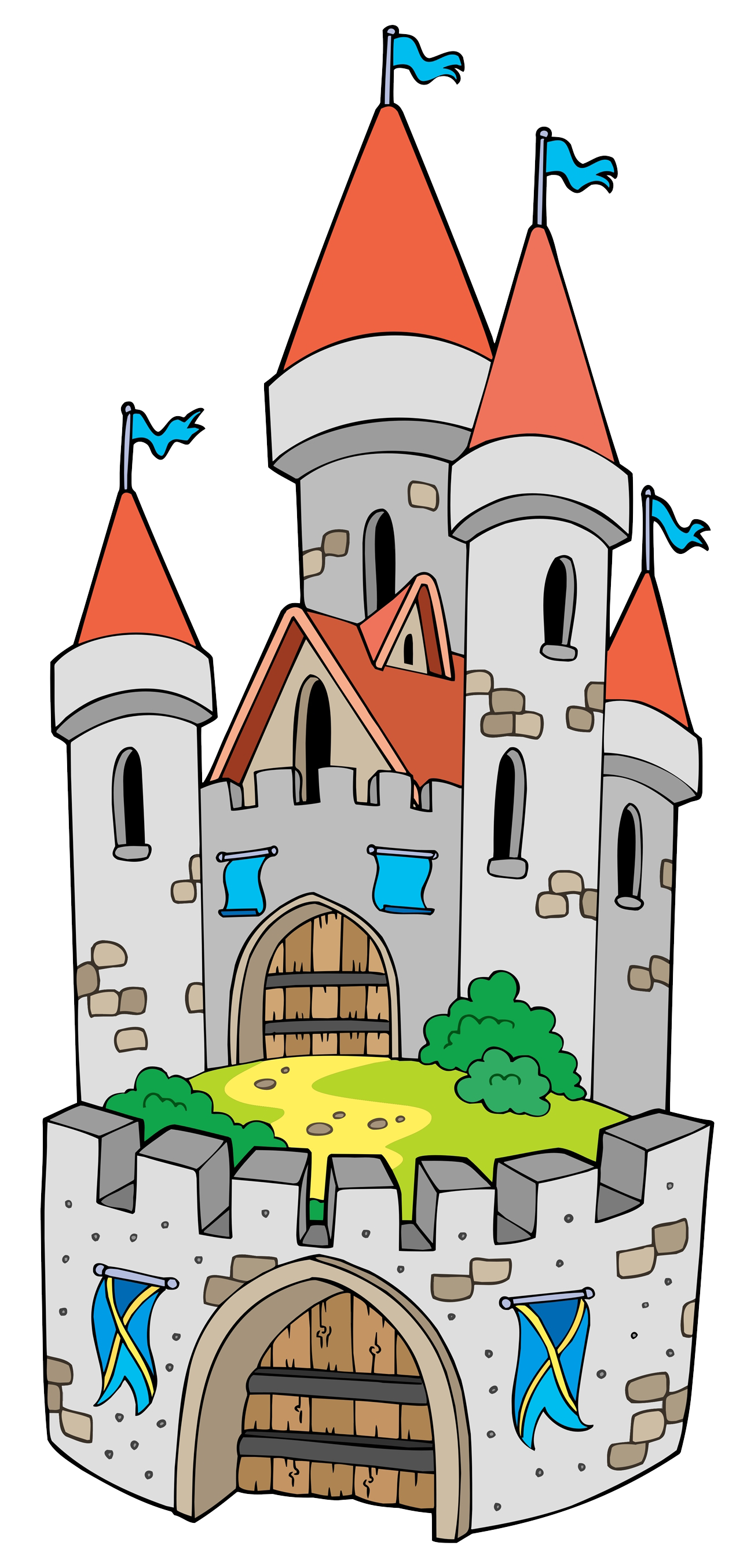 Castle clip tower. Cartoon fortification art the